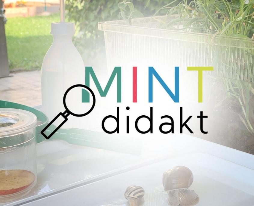 """HeaderBild - Logo von MINTdidakt mit Hintergrundbild """"Forschen im Garten"""""""