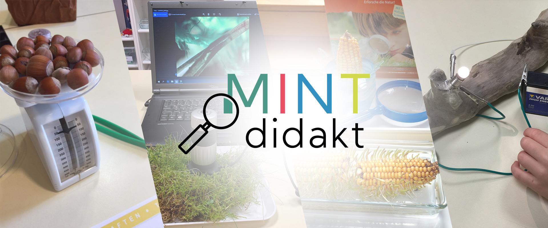 Headerbild - MINT Disziplinen überlagert mit MINTdidakt Logo
